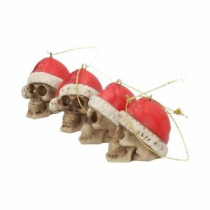 4 Funky Gothic Steampunk Ornamental Poly-Resin Skull Christmas Tree Decorations