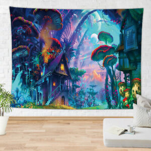 Waldpsychedelische abstrakte Pilzgarten hängende Tapisserie Wand Wohnkultur PA