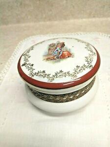 Vintage Limoges Porcelain Dresser Box W/ Ornate Metal Work Marked A F