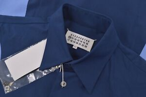 NWT Maison Margiela Size US 40 Medium '10' Dress Shirt Navy Blue Made in Italy