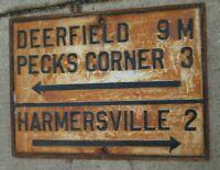 1890s Cast Iron Street Sign New Jersey Garden State Deerfield Peckscorner