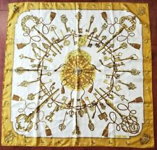 "Authentic Hermes Paris Silk Scarf White Gold ""Les Clefs The Keys"" Cathy Latham"