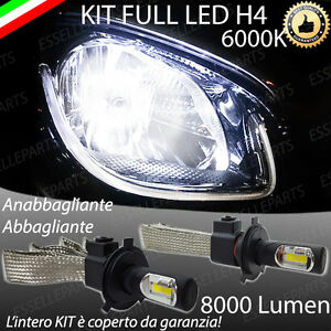 KIT FULL LED SMART FORTWO 453 LAMPADE LED H4 6000K BIANCO GHIACCIO 8000 Lumen