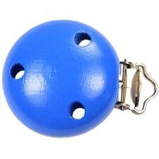 Clip Pince Attache Tetine Bleu en Bois 3,5 cm Rond