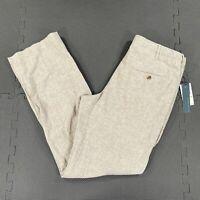 NWT Perry Ellis Chinchilla Linen Cotton Blend Pants Mens 32x31 Beige