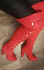 FASHION BLOCK HIGH HEEL RED SUEDE MILTARY GOLD THIGH HIGH OVER THE KNEE BOOTS