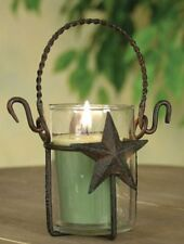 Primitive Star Candle Holder Rustic Metal with Glass Votive Candle Holder