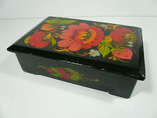 Vintage Russian Handmade and Painted Flowers Wood Box with Lid