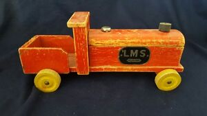 "COLLECTIBLE VINTAGE BRITISH MAKE LMS  LARGE 11 1/2"" - WOODEN MODEL TRAIN"