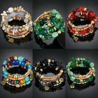 Boho Women Jewelry Natural Stone Crystal Multilayer Bangle Beaded Bracelet