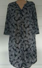 bnwt H&M SHIRT DRESS XS UK 6/8 BLACK WHITE PINEAPPLES PRINT 3/4 SLEEVES L/WEIGHT