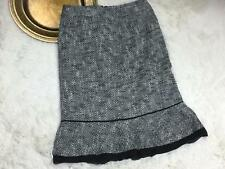 Harolds Womens Skirt Size 0 Black White Fitted Tweed Silk Trim Lined Career