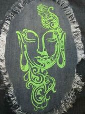 Green Embroidered Buddha Large Denim Fray Patch / Quilt Square Block