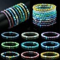 6mm Opal Moonstone Round Gemstone Beads Stone Stretchy Bracelet Bangle Gift