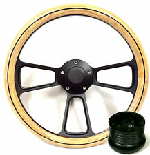 Hot Rod Street Rod Rat Rod Truck Oak & PBK Billet Steering Wheel, Horn & Adapter