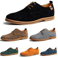 Mens Suede European Style Leather Shoes Lace Up Oxfords Casual Multi Size UK