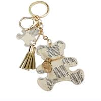 Teddy Bear Purse Bag Charm Keychain FOB Handbag Accessory Faux Leather White 2.5