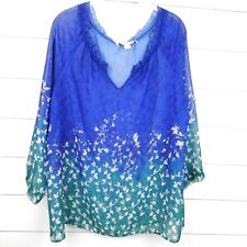Coldwater Creek Women's Sheer Blue Green Top Blouse SIZE 14 L
