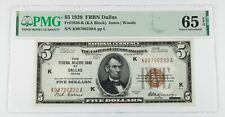 1929 $5 National Currency Note Dallas Graded by PMG as Gem Unc 65 EPQ Fr 1850-K