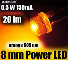 1 Stück 0,5W Power LED 8mm orange 605nm 20 lm, Kurzkopf Flachkopf Straw Hat