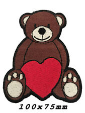 Embroidered Cute Love Heart Teddy Bear Kids Sew or Iron on Patch A1184