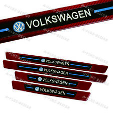 4PCS VOLKSWAGEN Red Carbon Fiber Car Door Welcome Plate Sill Scuff Cover Panel