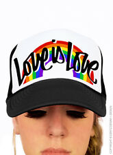 Gay Pride Hat Script Rainbow Love is Love Unisex One Size Baseball Trucker Cap