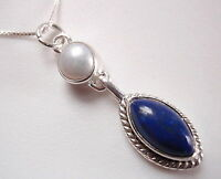 Blue Lapis and Cultured Pearl 925 Sterling Silver Pendant Corona Sun