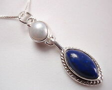 Blue Lapis and Cultured Pearl 925 Sterling Silver Necklace Corona Sun