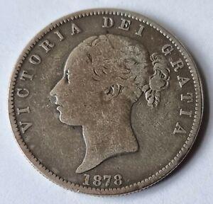 1878 Victoria Young Head .925 Silver British Half Crown Coin L2