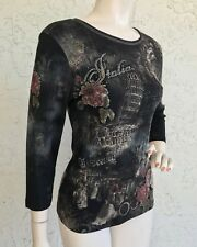 CACTUS Top Italy Themed Cotton 3/4 Sleeve Art to Wear Rhinestone Shirt Sz S