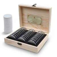Holz Münzen Display Aufbewahrungsbox Container für Sammler Münze mit 30 Kapseln