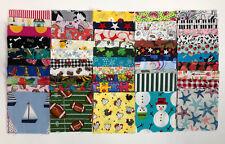 "100 Charm Quilt Squares (3.5"") Fussy Cut Cotton Fabric Novelty Children"