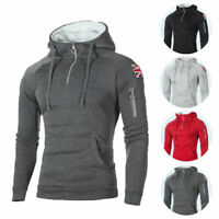 Men Fleece Hooded Pullover Winter Warm Hoodie Sweatshirt Jumper Sweater Coat Top