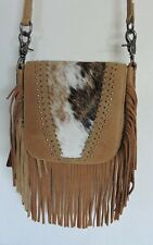 Tan Leather Fringe Messenger Bag with Rare Hair on Leather Front by Montana West