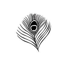 Peacock Eye Feather Unmounted rubber stamp, small #20