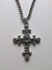 Unisex Crystal Cross Gothic Crucifix Necklace Silver Coloured Diamanté One Size
