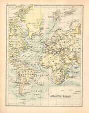 C1900 mappa vittoriana ~ Oceano Atlantico ~ Steamer percorsi ~ L'EUROPA AMERICA Groenlandia