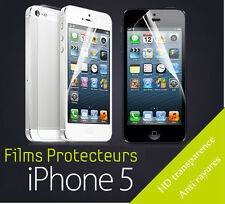 Lot de 10 FILMS DE PROTECTION 5 AVANT/ 5 ARRIERE POUR IPHONE 5 5S 5C NEUF