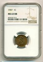 1907 Indian Head Cent MS63 RB NGC