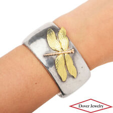Tiffany & Co. Vintage Silver 18K Gold Dragonfly Cuff Bracelet 79.1 Grams NR
