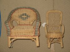 "9 3/4"" and 10"" Tall Wicker Doll Chairs"