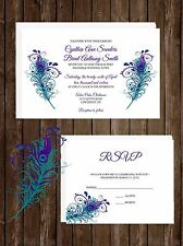 Wedding Invitations Peacock Feathers 50 Invitations & RSVP Cards Any Colors