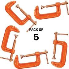 """PACK OF 5 CAST IRON 4"""" 100 MM G CLAMPS WOOD WORKING WELDING CRAMPS COPPER PLATED"""