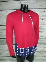 USA Red Brooklyn Cloth Hoodie Men's Size Large Long Sleeve Shirt With Hood