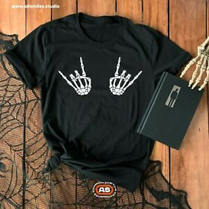 Rock On Skeleton Hand T-Shirt | Halloween T | Womens Mens Unisex Slogan T-Shirt
