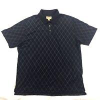 Foundry Supply Co Men's Sz 2XL Black Quick Dri Golf Polo Shirt Diamond Print
