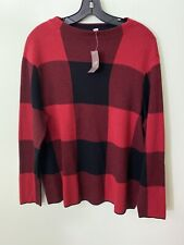 J Jill Buffalo Plaid Sweater L Large Black Red Boxy Cotton Large New with Tags