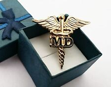 """MD Golden CADUCEUS MEDICAL DOCTOR BADGE LAPEL PIN 1.5"""" *GENUINE GOLD PLATED*"""