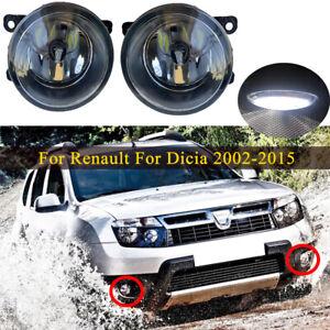 LED Bulb Fog Lights Bumper Lamps Pair k Fit For Dacia Duster Sandero Logan 04-15